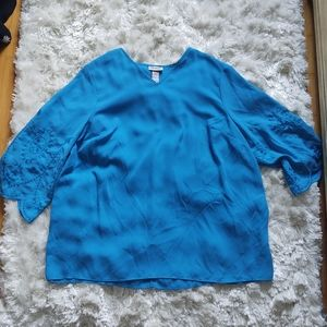 NWOT Catherines blue blouse w/ embroidered sleeves
